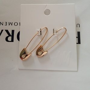 H&M Safety Pin Gold Tone Earrings